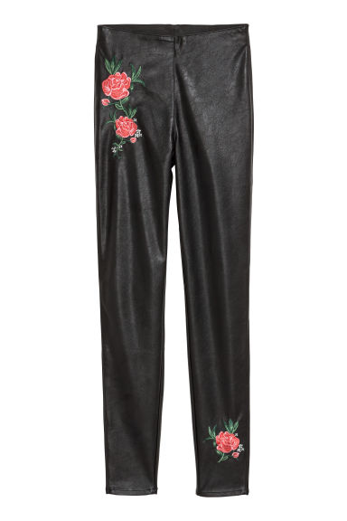 Treggings with embroidery - Black/Flowers - Ladies | H&M