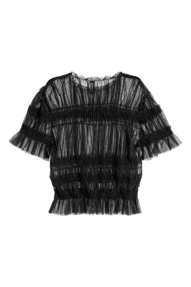 Top in tulle con smock - Nero -  | H&M IT