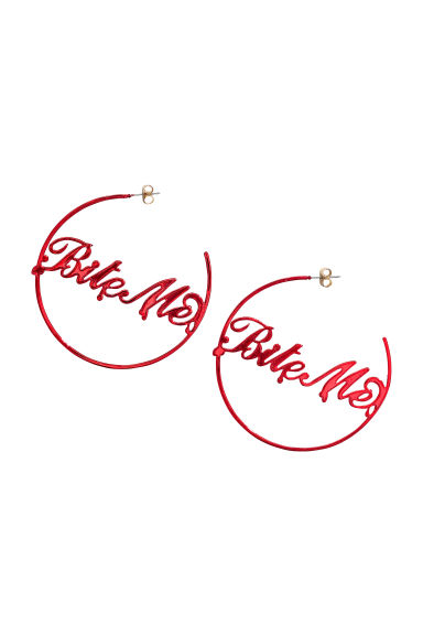 Large earrings - Red/Bite me - Ladies | H&M