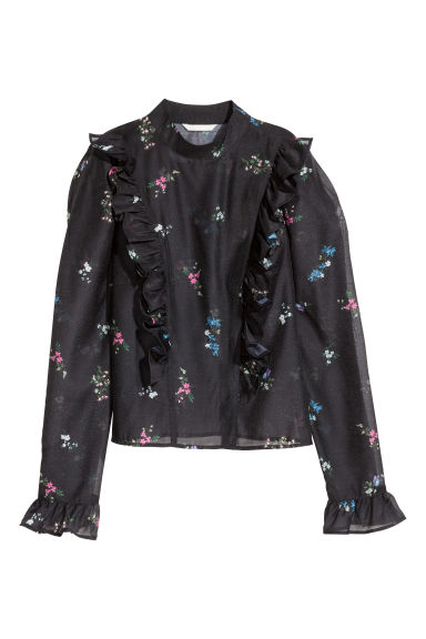 Puff-sleeved frilled blouse - Black/Floral -  | H&M