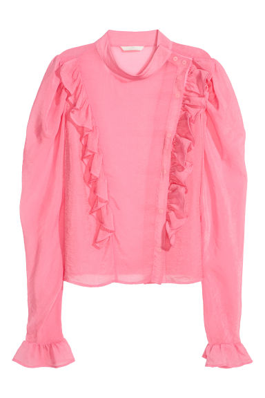 Puff-sleeved frilled blouse - Pink -  | H&M