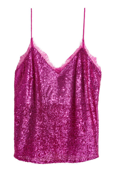 Sequined strappy top - Magenta - Ladies | H&M