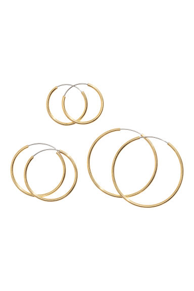 3 pairs gold-plated earrings - Gold-coloured - Ladies | H&M