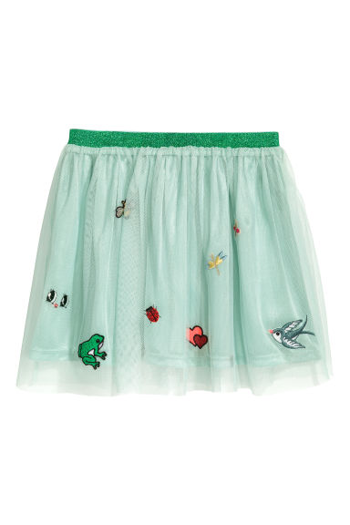 Tulle skirt with appliqués - Mint green -  | H&M IE