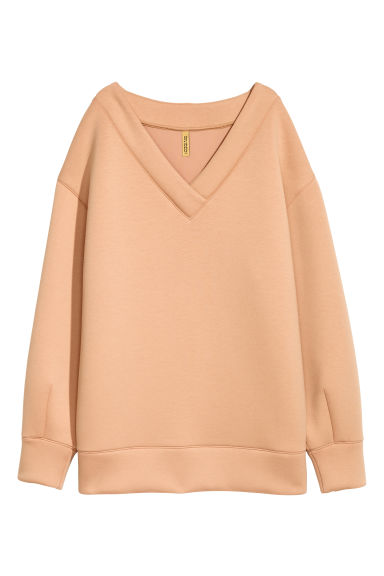 V-neck scuba top - Beige - Ladies | H&M