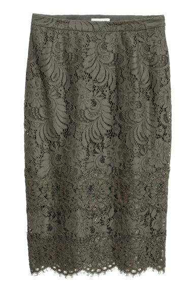 Lace skirt - Dark green -  | H&M