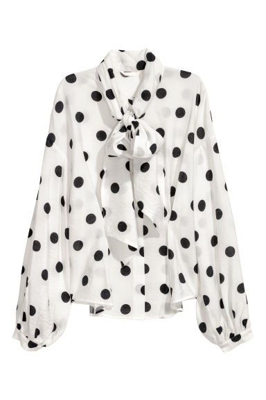 Tie-front blouse - White/Black spotted - Ladies | H&M