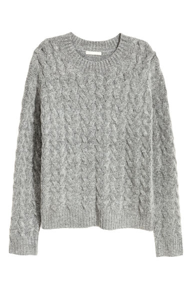 Cable-knit jumper - Grey marl - Ladies | H&M CN