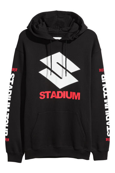 Printed hooded top - Black/Stadium -  | H&M