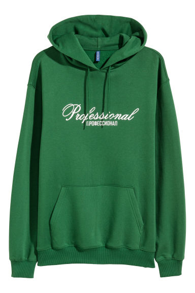 Printed hooded top - Green - Men | H&M