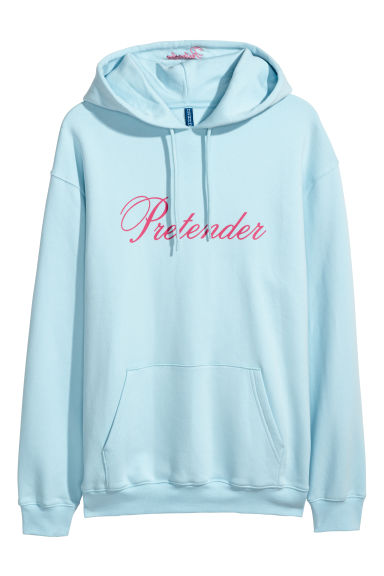 Printed hooded top - Light blue -  | H&M