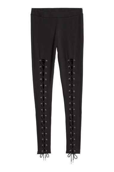 Leggings with lacing - Black -  | H&M CN