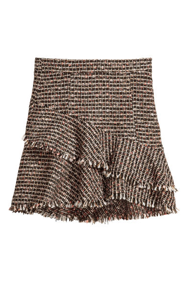 Textured flounced skirt - Black/Multicoloured - Ladies | H&M