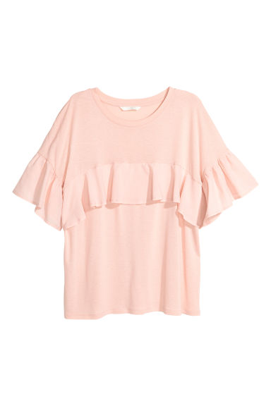 Flounced top - Powder pink -  | H&M