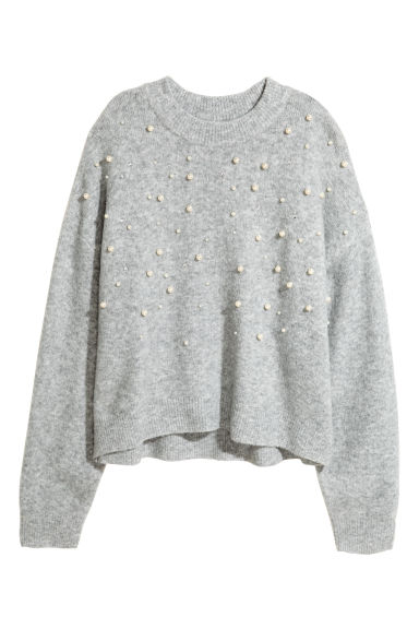 Knitted beaded jumper - Light grey/Beads -  | H&M