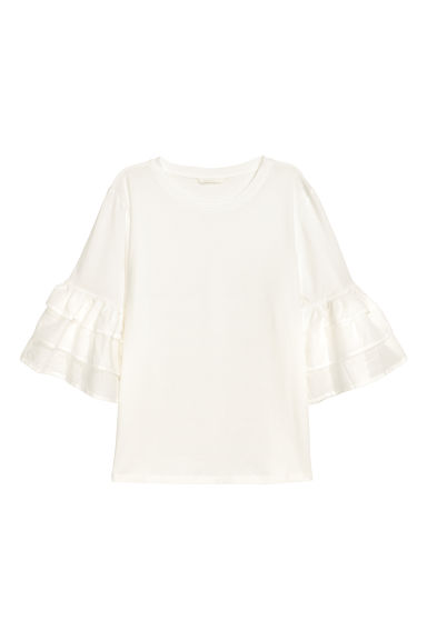 Top with flounced sleeves - White -  | H&M GB