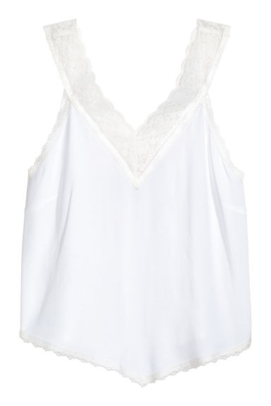 V-neck top - White - Ladies | H&M CN