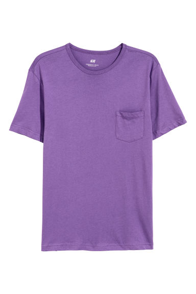 T-shirt with a chest pocket - Purple -  | H&M