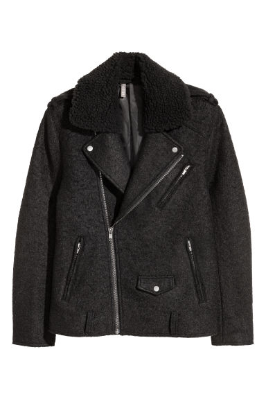 Wool-blend biker jacket - Black -  | H&M