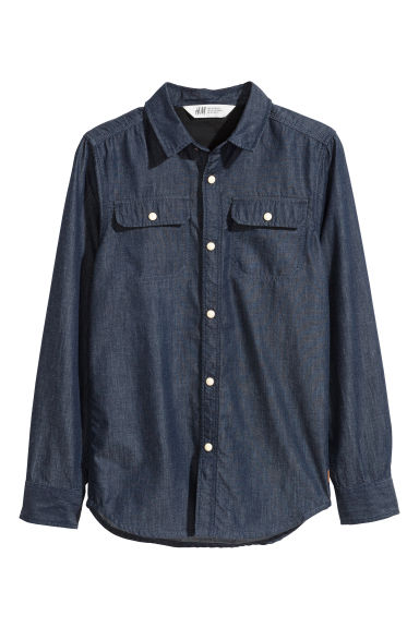 Twill shirt - Dark blue/Chambray - Kids | H&M CN