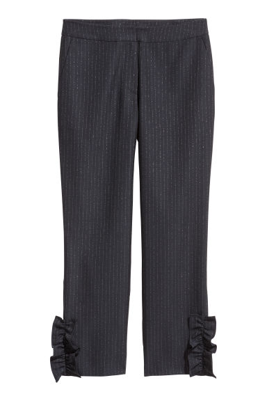 Frilled trousers - Dark blue/Silver-coloured - Ladies | H&M