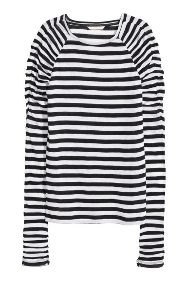 Long-sleeved jersey top - White/Black striped - Ladies | H&M CN