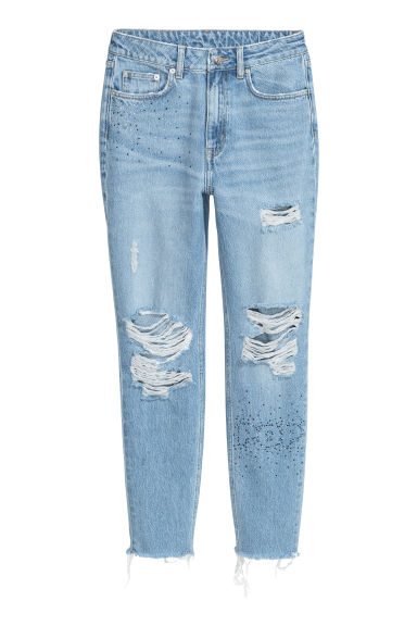 Mom Jeans Trashed - 浅牛仔蓝/水钻 - Ladies | H&M CN