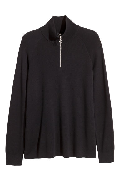 Jumper with a zip - Black - Men | H&M