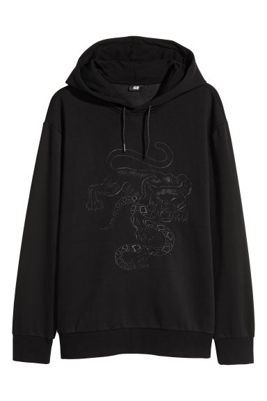 Hooded top - Black/XO - Men | H&M