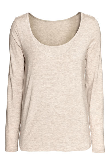 MAMA Long-sleeved nursing top - Light mole -  | H&M