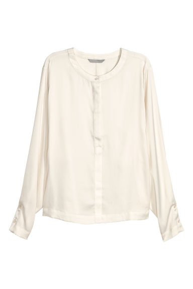 Wide-sleeved blouse - Natural white - Ladies | H&M CN