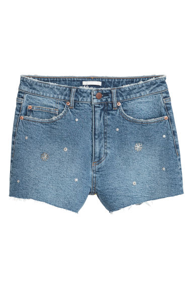 Denim shorts with studs - Denim blue/Studs - Ladies | H&M IE