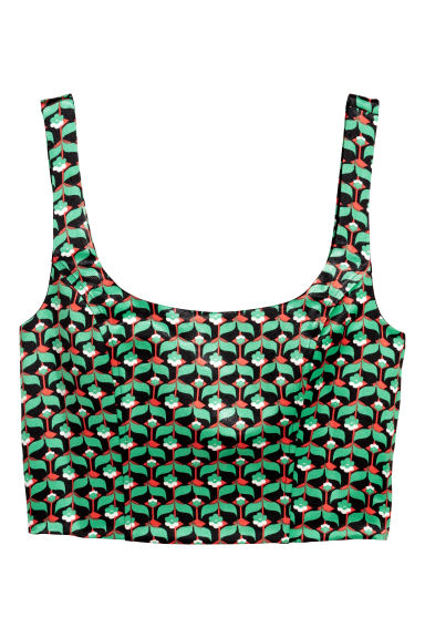 Patterned bustier - Green/patterned -  | H&M