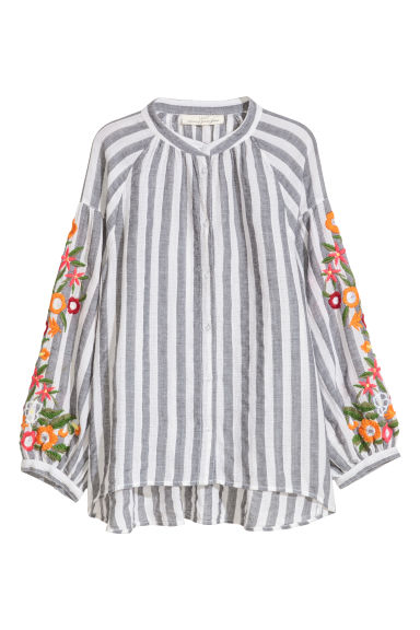 Cotton blouse - Grey/White striped -  | H&M