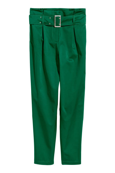 Paper bag trousers - Emerald green -  | H&M