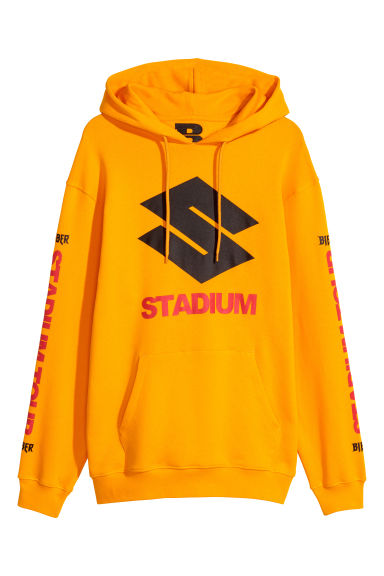 Printed hooded top - Bright yellow -  | H&M