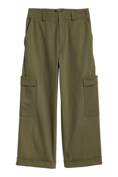 Wide twill trousers - Dark khaki green - Ladies | H&M