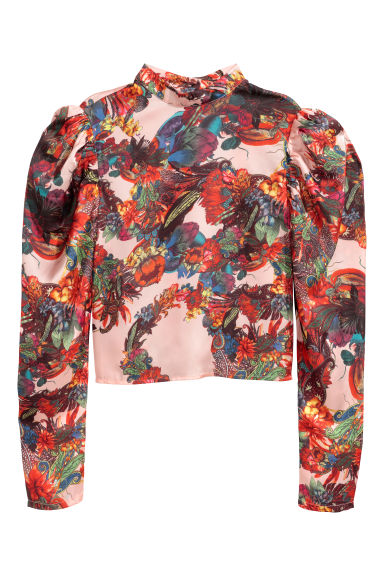 Patterned satin blouse - Pink/Patterned -  | H&M