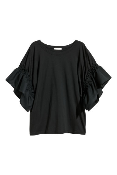 T-shirt with frilled sleeves - Black -  | H&M