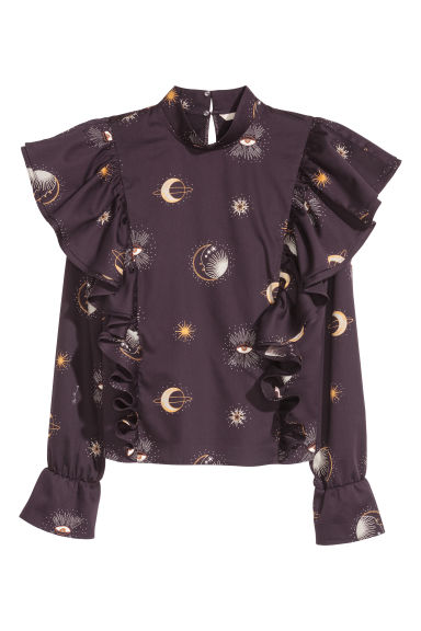 Flounced cotton blouse - Black/Patterned - Ladies | H&M