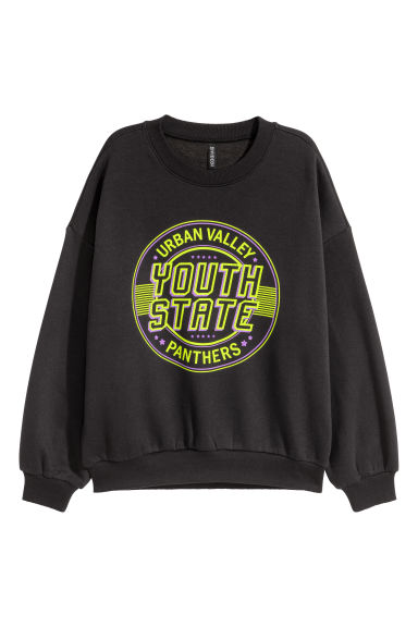 Sweatshirt with a motif - Black/Youth State -  | H&M