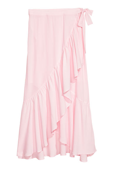Flounced wrapover skirt - Light pink - Ladies | H&M IE