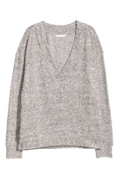 V-neck top - Grey marl - Ladies | H&M CN
