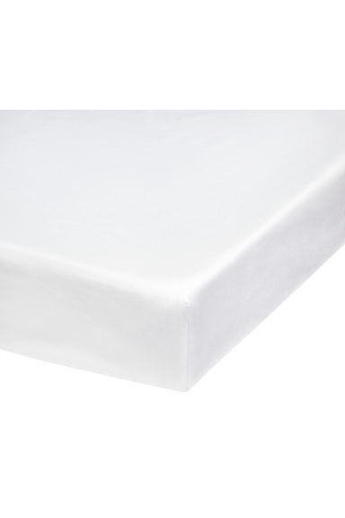 Fitted cotton satin sheet - White - Home All | H&M CN