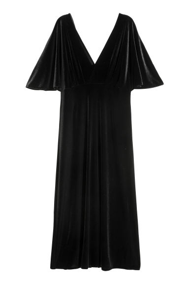Velour dress - Black -  | H&M